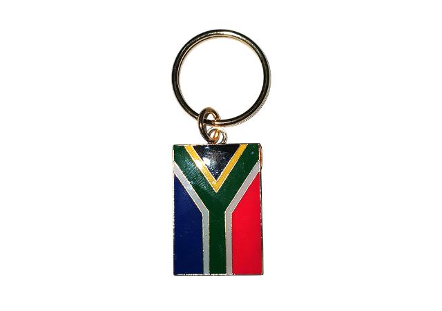metal south african flag keyring
